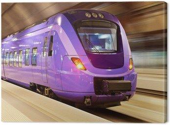 Canvas Print High speed train with motion blur