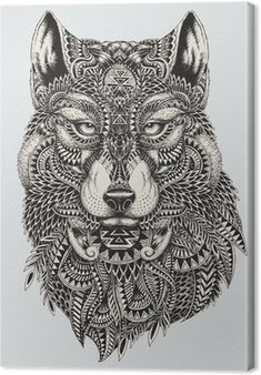 Highly detailed abstract wolf illustration Canvas Print