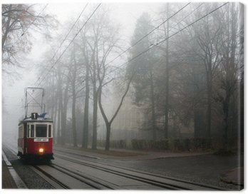 Canvas Print Historic tram in the fog