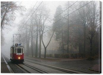 Historic tram in the fog