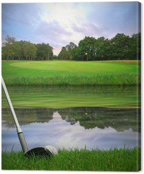 Canvas Print hitting golf ball over water hazard