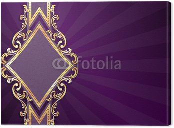 Canvas Print Horizontal diamond-shaped purple banner with gold filigree