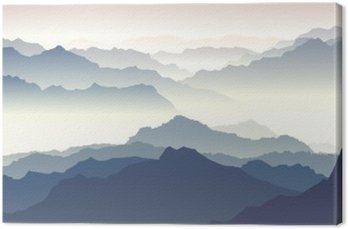 Horizontal illustration of twilight in mountains.