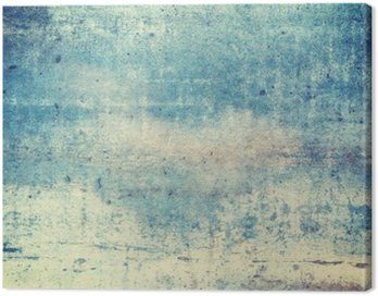Canvas Print Horizontally oriented blue colored grunge background