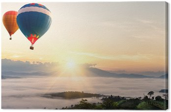 Hot air balloon over sea of mist