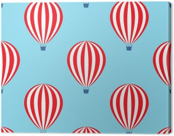 Hot air balloon seamless pattern. Baby shower vector illustrations on blue sky background. Colorful hot air balloons design.