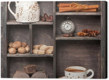 Hot chocolate and spices. Vintage set in wooden box. Сollage