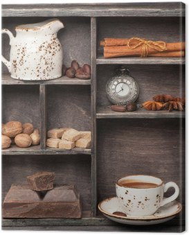 Canvas Print Hot chocolate and spices. Vintage set in wooden box. Сollage