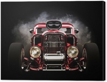 Canvas Print Hotrod with smoke background