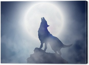 Canvas Print Howling wolf