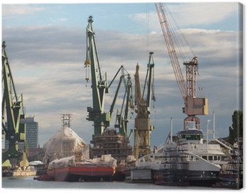 Canvas Print Huge ships with cranes in Gdansk Shipyard
