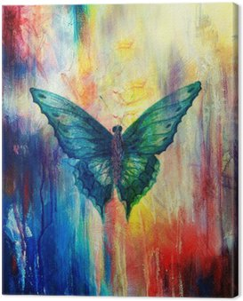 Canvas Print illustration of a butterfly, mixed medium, abstract color background.