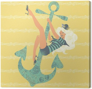 Illustration of a pin up girl swinging on an anchor