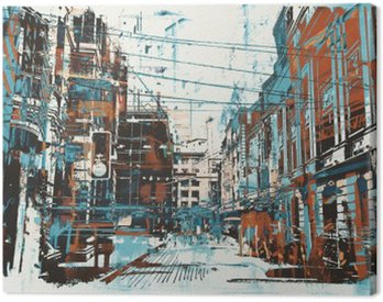 illustration painting of urban street with grunge texture Canvas Print