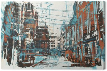 Canvas Print illustration painting of urban street with grunge texture