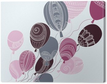 Canvas Print Illustration with colorful flying balloons