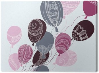 Illustration with colorful flying balloons