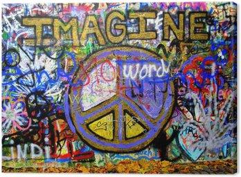 Imagine Lennon Wall Graffiti Canvas Print