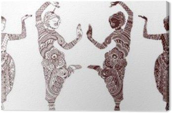 Indian dancers set of hand-drawn style mehendi