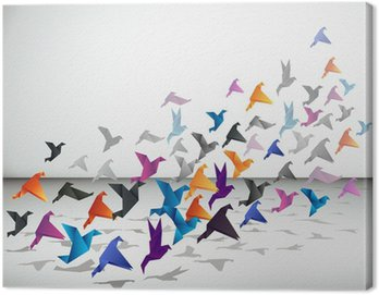 Canvas Print Indoor flight, Origami Birds start to fly in closed space.