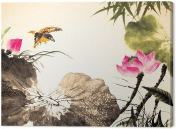 Canvas Print ink lotus painting hand drawn