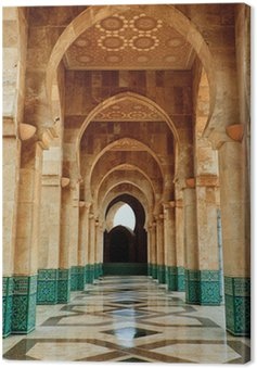 Intricate marble and mosaic archway outside mosque Canvas Print