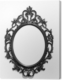 Isolated black Victorian classical mirror frame