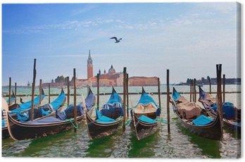 Italy. Venice. Gondolas in the Canal Grande..