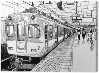 Japan metro train station platform in Osaka drawing ink sketch s Canvas Print