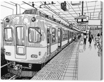Canvas Print Japan metro train station platform in Osaka drawing ink sketch s