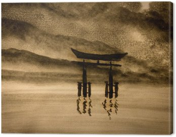 Canvas Print Japanese gate in water