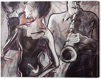 Canvas Print Jazz band with dancers