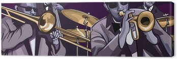 Canvas Print jazz band with trombonne trumpet double bass and drum