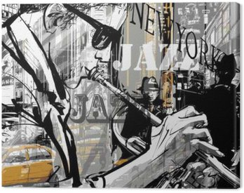 Canvas Print Jazz trumpet player in a street of New york