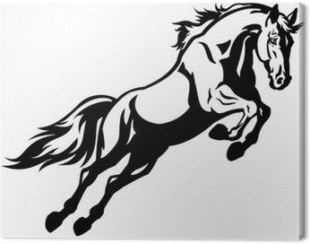 Canvas Print jumping horse black white