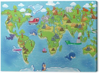 Canvas Print kids world map