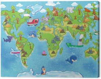 Canvas Print kids world map
