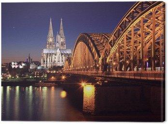 Kölner Dom bei Nacht Canvas Print
