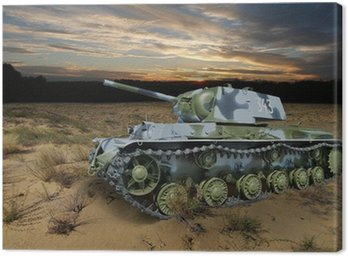 Canvas Print KV-1 (Klim Voroshilov) Soviet heavy tank in the night landscape