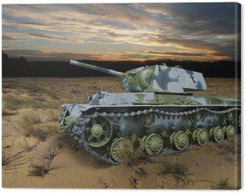 KV-1 (Klim Voroshilov) Soviet heavy tank in the night landscape