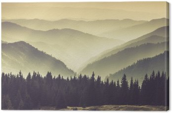Canvas Print Landscape of misty mountain hills.