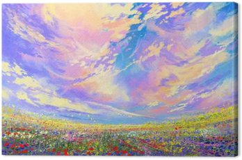 Canvas Print landscape painting,colorful flowers in field under beautiful clouds