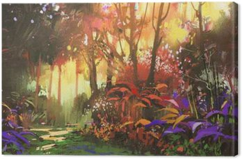 Canvas Print landscape painting of beautiful forest with sunlight,illustration