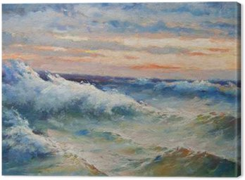 Canvas Print Landscape painting showing big sea waves during storm