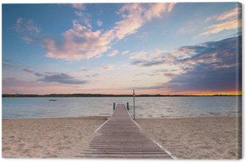 langer Holzweg zum See Canvas Print