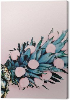 Life in pink. Pineapple background. minimal style Canvas Print