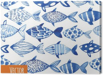 Canvas Print Light watercolor blue fishes on the black background.