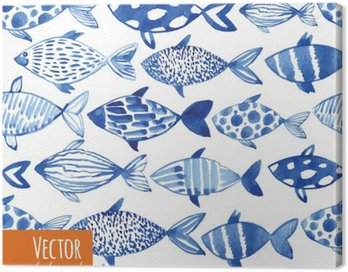 Light watercolor blue fishes on the black background.