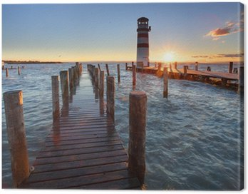 Canvas Print Lighthouse at Lake Neusiedl at sunset