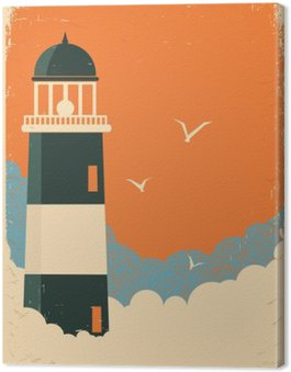 Lighthouse retro poster on old paper Canvas Print
